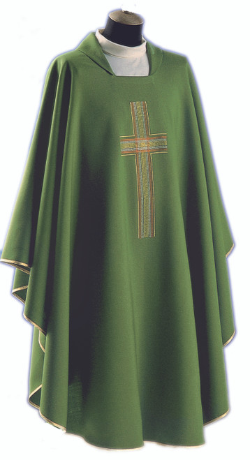 #521 Embroidered Cross Chasuble | Square Collar | 100% Poly | All Colors