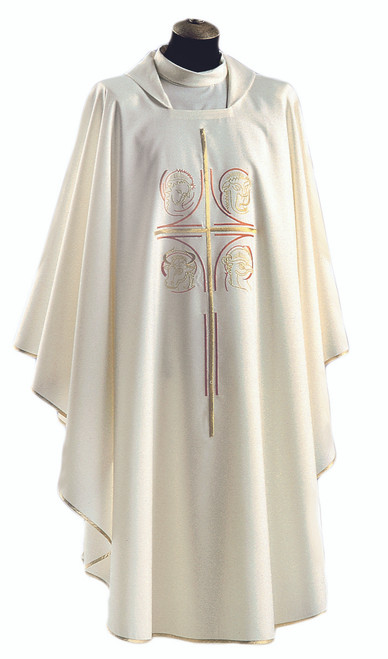 #523 Embroidered Four Evangelists Chasuble | Square Collar | Wool/Poly | All Colors