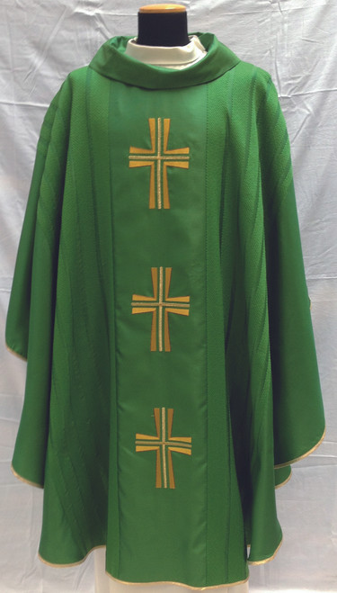 #652 Embroidered Cross Celebrants Chasuble | Roll Collar | Silk/Wool