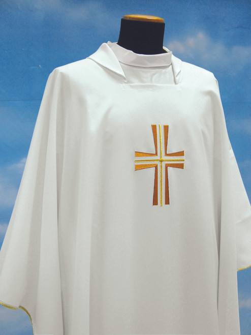 #652 Embroidered Cross Concelebrants Chasuble | Square Collar | 100% Poly | All Colors
