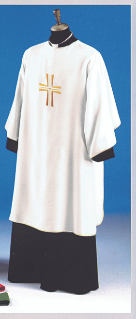 #652 Embroidered Cross Dalmatic | Square Collar | 100% Poly | All Colors