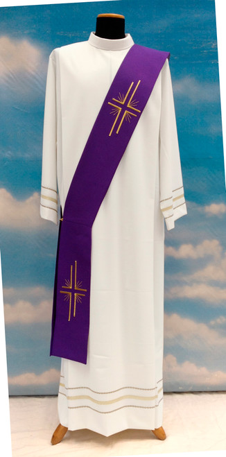 #881 Embroidered Cross Deacon Stole | 100% Poly | All Colors