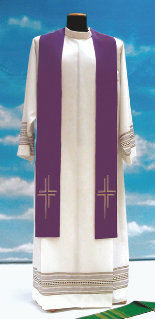#651 Lightweight Contemporary Cross Overlay Stole | 100% Poly | All Colors