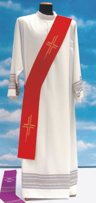 #651 Lightweight Contemporary Cross Deacon Stole | 100% Poly | All Colors