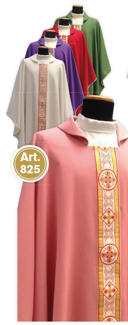 #825 Lightweight Banded Chasuble | Square Collar | 100% Poly | All Colors