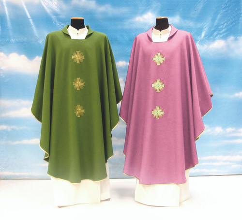 #314 Embroidered Cross Chasuble | Square Collar | 100% Poly | All Colors