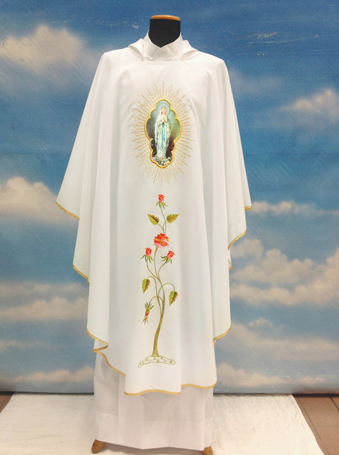 #332 Printed Marian Chasuble | Square Collar | 100% Poly