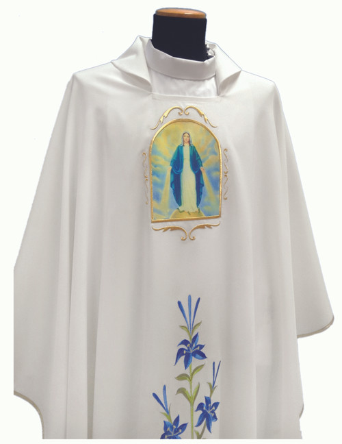 #341 Printed Our Lady of Grace Marian Chasuble | Square Collar | 100% Poly