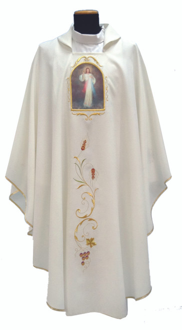#342 Printed Divine Mercy Chasuble | Square Collar | 100% Poly