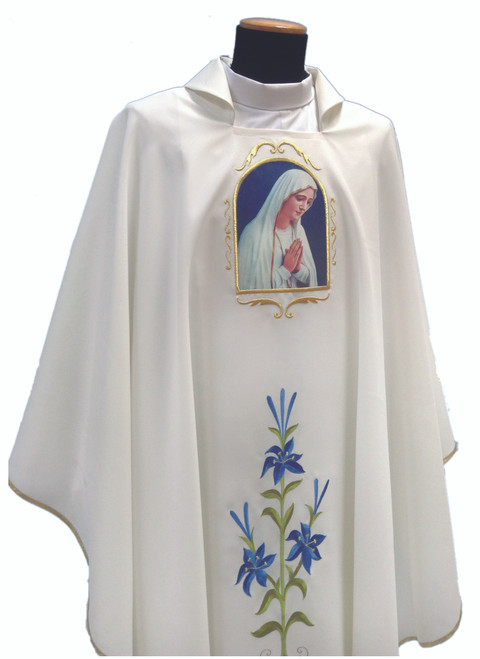 #343 Printed Praying Marian Chasuble | Square Collar | 100% Poly