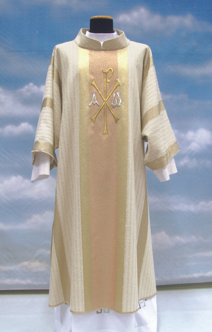 #370 Embroidered Chi Rho Dalmatic | Stand Up Collar | 95% Pure Wool