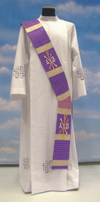 #370 Embroidered Chi Rho Deacon Stole | 95% Pure Wool