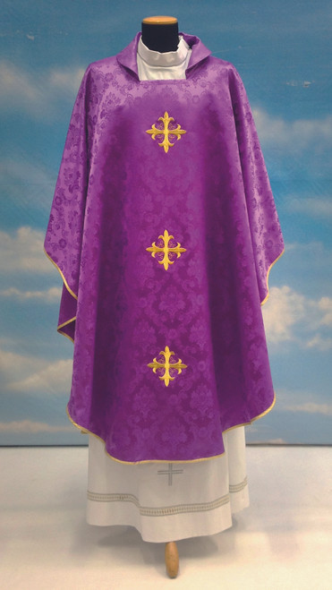 #642 Three Cross Chasuble | Square Collar | 100% Polyester Damask | All Colors