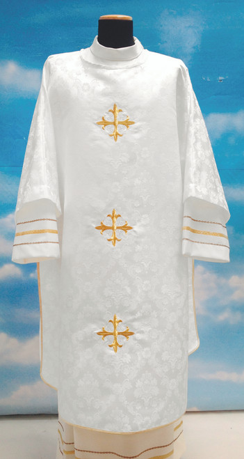 #642 Three Cross Dalmatic | 100% Polyester Damask | All Colors