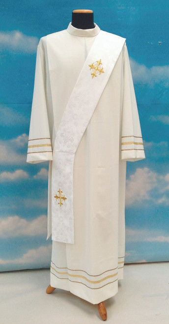 #642 Cross Deacon Stole | 100% Polyester Damask | All Colors