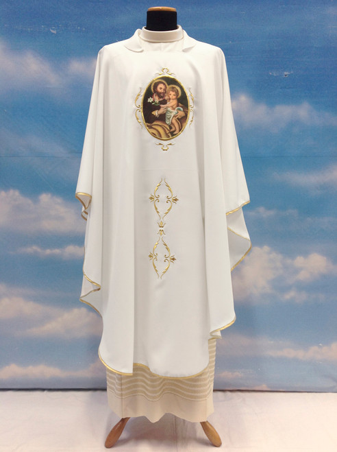 #644 Printed St. Joseph Chasuble | Square Collar | 100% Poly