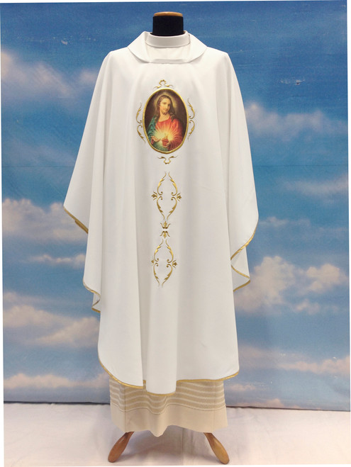 #645 Printed Sacred Heart Chasuble | Square Collar | 100% Poly