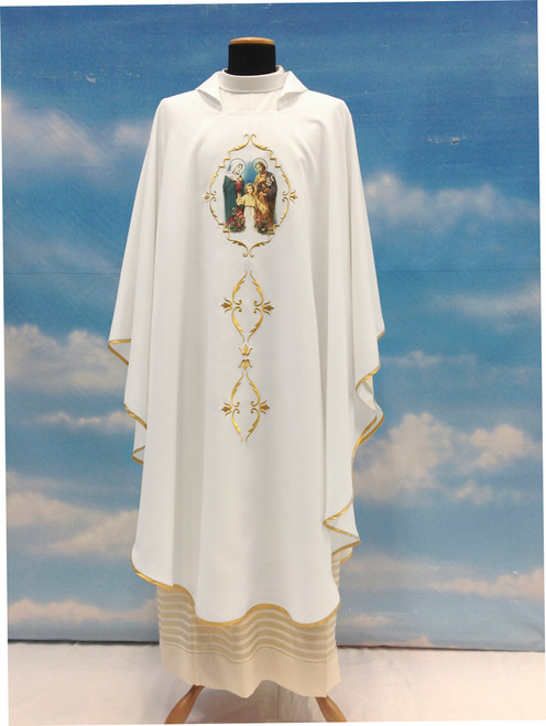 #646 Printed Holy Family Chasuble | Square Collar | 100% Poly