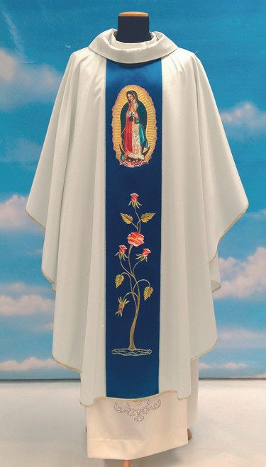 #777 Our Lady of Guadalupe Paneled Chasuble | Roll Collar | 100% Poly