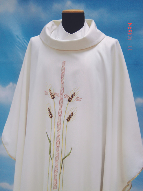 #812 Cross & Wheat Chasuble | Roll Collar | Wool/Poly | All Colors