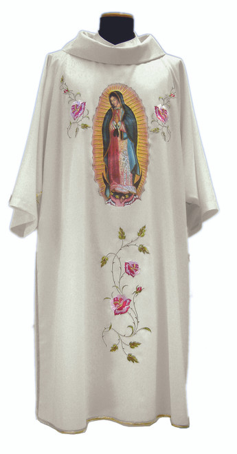 #859 Embroidered Our Lady of Guadalupe Marian Dalmatic | Roll Collar | Mixed Wool