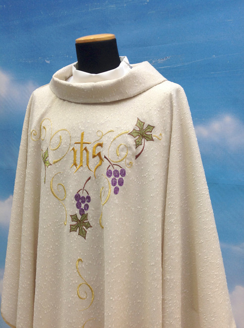 #603 IHS Grapes Celebrants Chasuble | Roll Collar | Wool/Gold