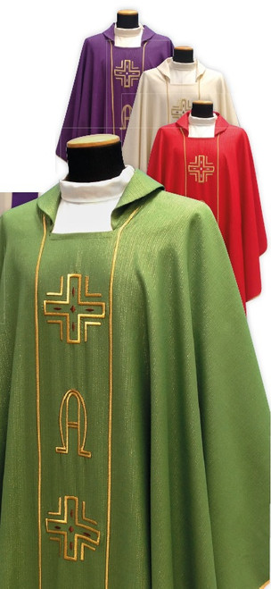 #634 Alpha Omega Chasuble | Square Collar | Pure Wool/Gold Thread | All Colors