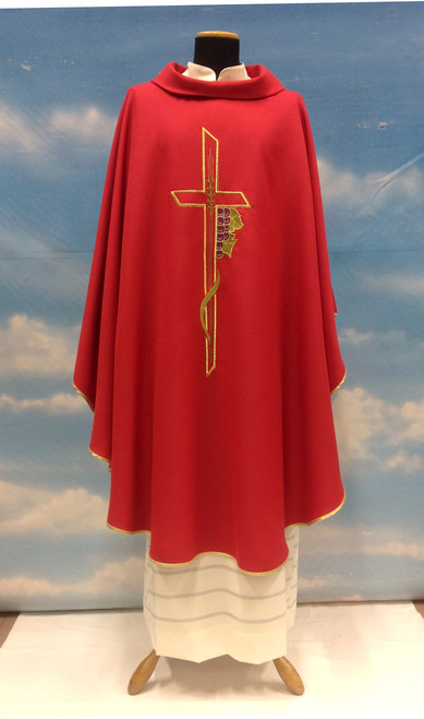 #863 Cross & Grapes Chasuble | Roll Collar | Wool/Poly | All Colors