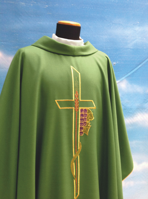 #863 Cross & Grapes Chasuble   Roll Collar   Wool/Poly   All Colors