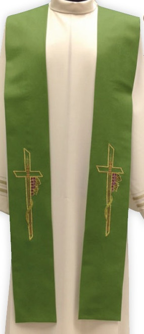 #863 Cross & Grapes Overlay Stole | Wool/Poly | All Colors