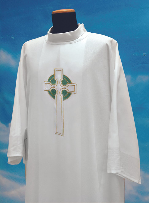 #347 Celtic Cross Dalmatic | 100% Poly | Green & White