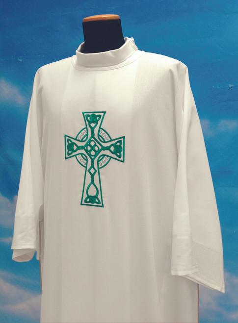 #348 Celtic Cross Dalmatic | Mixed Wool | Green & White