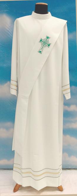 #348 Celtic Cross Deacon Stole | Mixed Wool