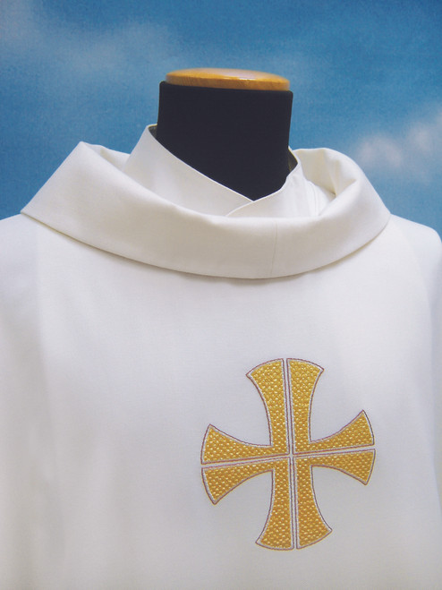 #318 Embroidered Three Cross Chasuble | Roll Collar | Wool/Poly | All Colors