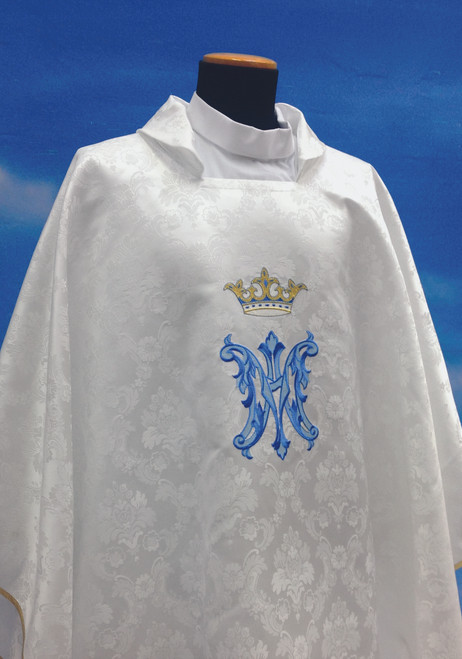 #430 Embroidered Marian Chasuble   Square Collar   100% Polyester Damask
