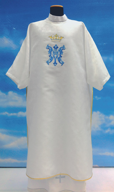 #430 Embroidered Marian Dalmatic with Deacon Stole | 100% Polyester Damask