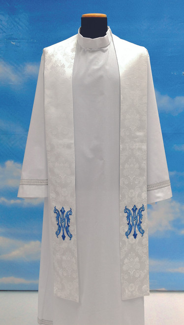 #430 Embroidered Marian Overlay Stole | 100% Polyester Damask