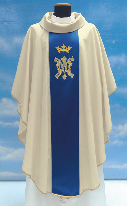 #503 Embroidered Marian Crown Chasuble | Roll Collar | Pure Wool/Gold Thread