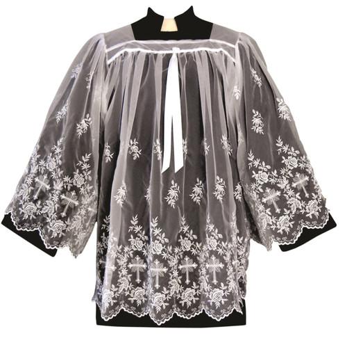 #1415X Washable Embroidered Sheer Surplice | Nylon