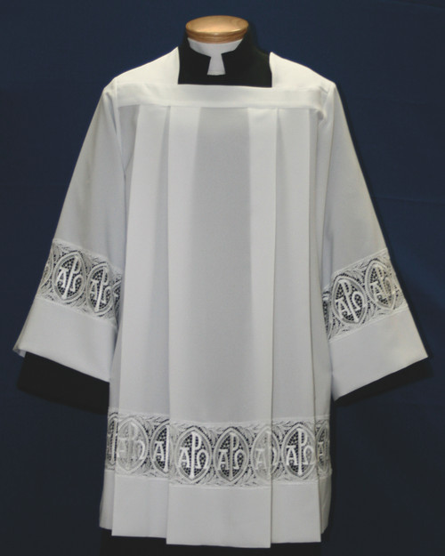 #4292 Alpha Omega/Chi Rho Lace Insertion Surplice | Smooth Poly