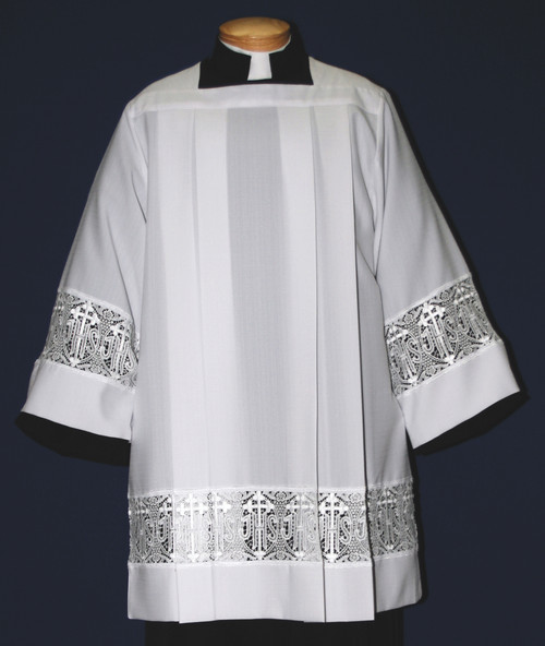 #4216S Latin Cross Lace Insertion Surplice | Smooth Poly