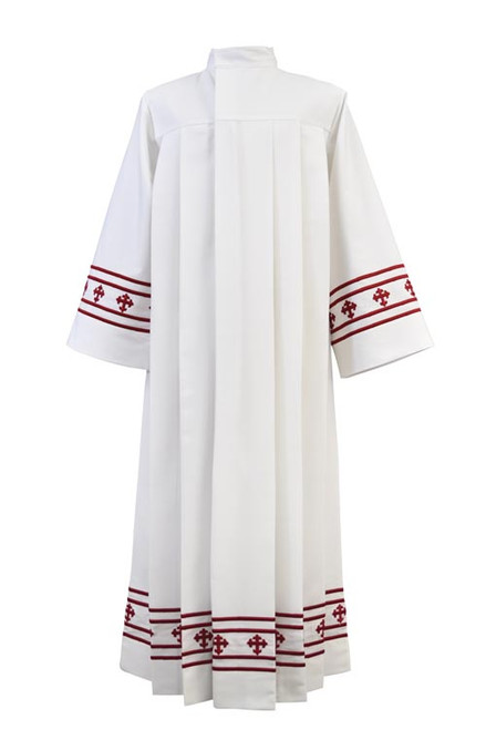 Women's Contemporary Red Cross Embroidery Alb | Medium Weight | 100% Poly