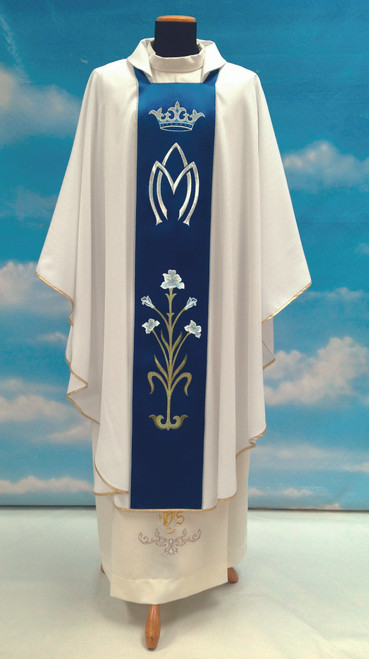 #778 Marian Symbol with Flowers Paneled Chasuble | Square Collar | 100% Poly