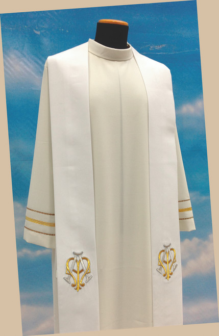 #514 Marian Symbol Overlay Stole | 100% Poly