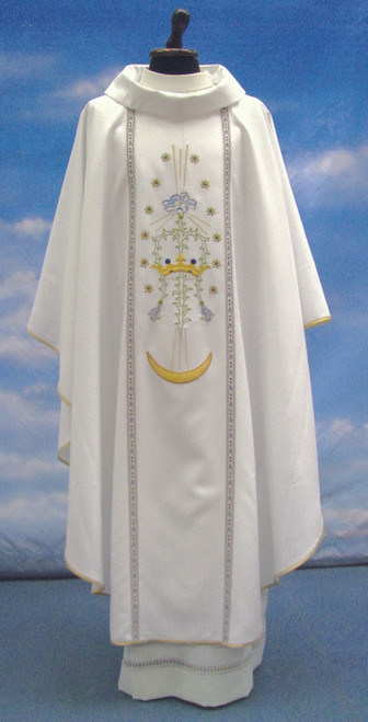 #233 Marian Crown Chasuble | Roll Collar | 100% Poly