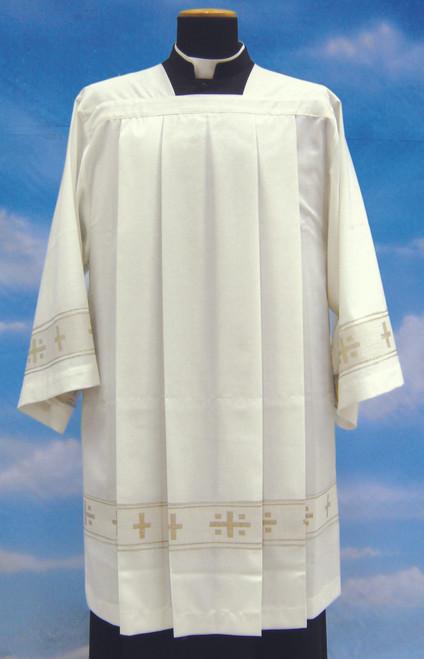 #956 Woven Gold Cross Surplice | Mixed Wool
