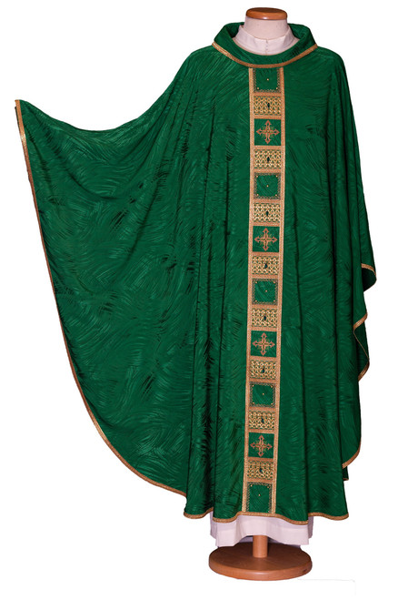 #288 Italian Crystal Inlay Chasuble with Ornate Stitching | Roll Collar | Acetate/Viscose | All Colors