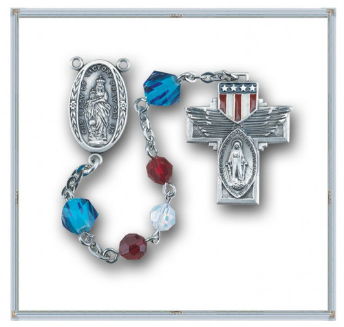 Red, White Opal, and Blue Swarovski Crystal Military Rosary