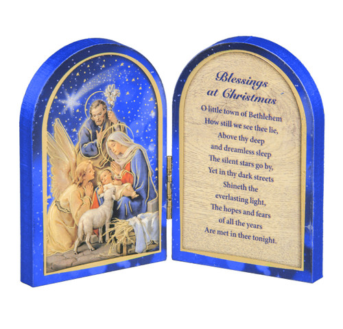 Christmas Blessings and Nativity Scene Diptych | Wood