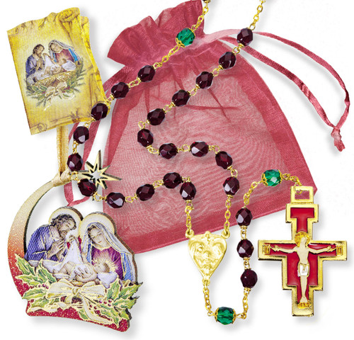 Red Christmas Rosary Gift Set